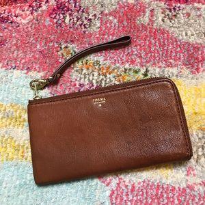 Fossil Brown Leather Zip Wristlet Wallet